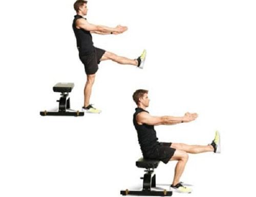 اسکات با یک پا روی نیمکت برای تقویت عضلات زانو