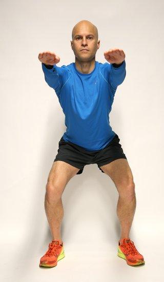 کشش کشاله ران با اسکوات برای درد کشاله ران تا زانو